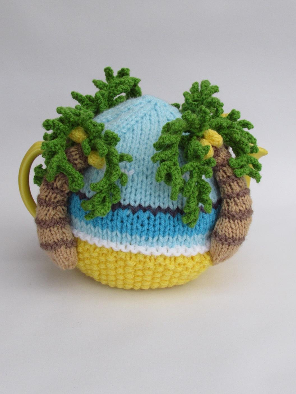 Palm Tree Beach tea cosy knitting pattern