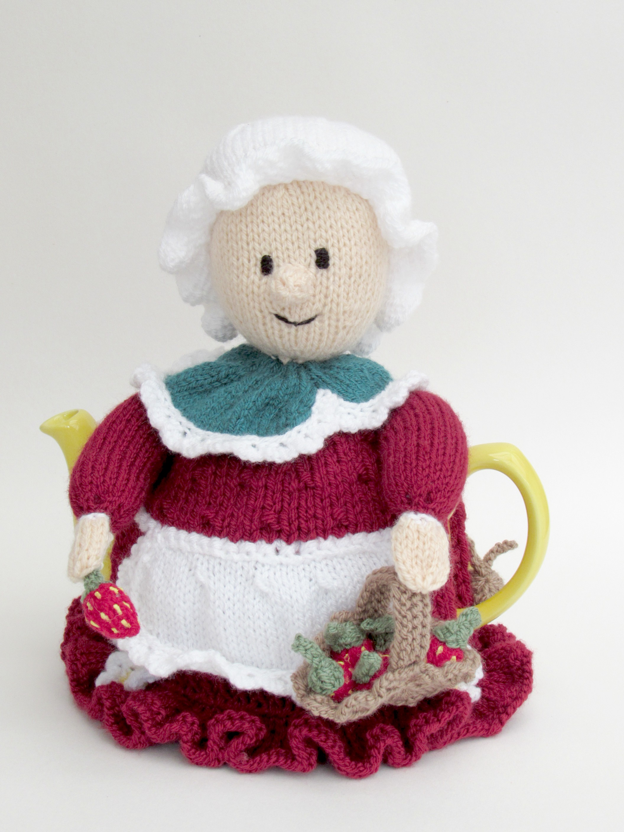 Devonshire Strawberry Picker tea cosy knitting pattern
