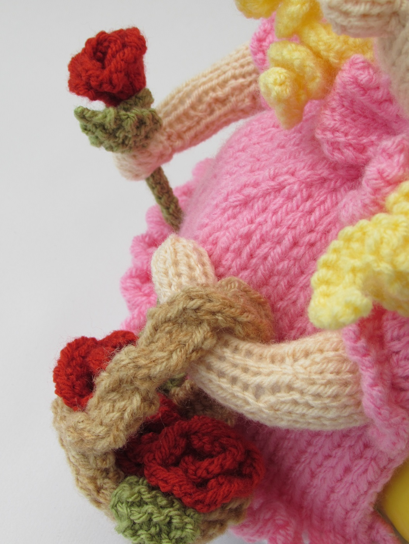 Victorian Flower Girl tea cosy knitting pattern