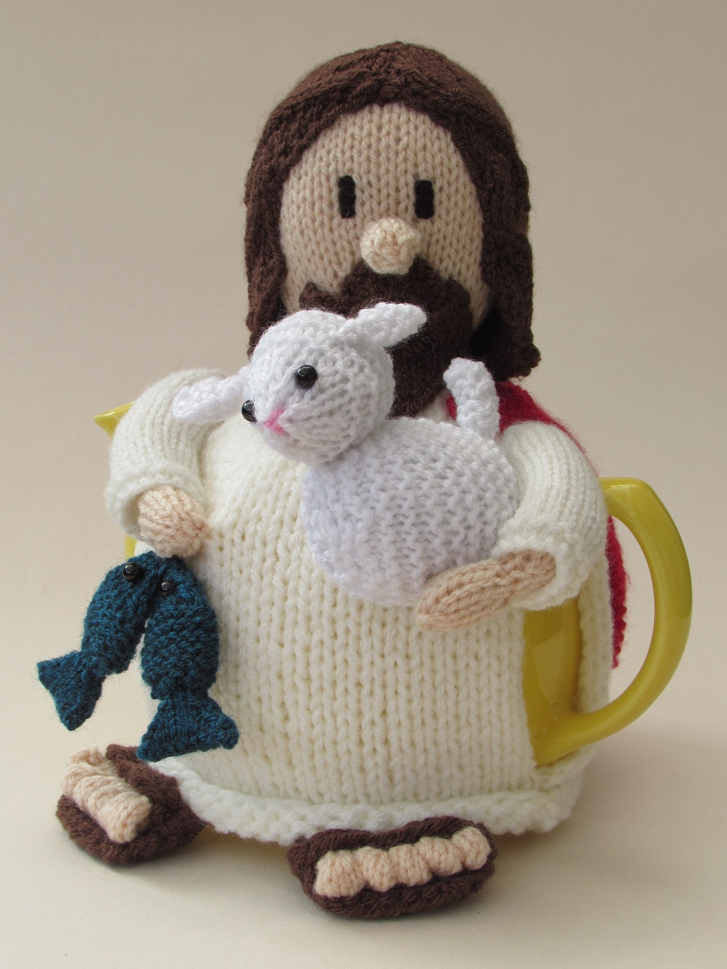 Jesus tea cosy knitting pattern