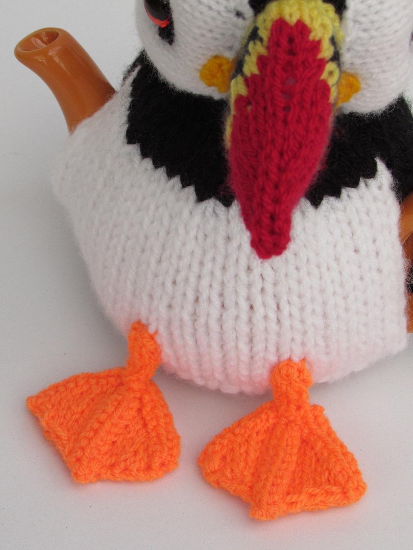 Puffin tea cosy knitting pattern