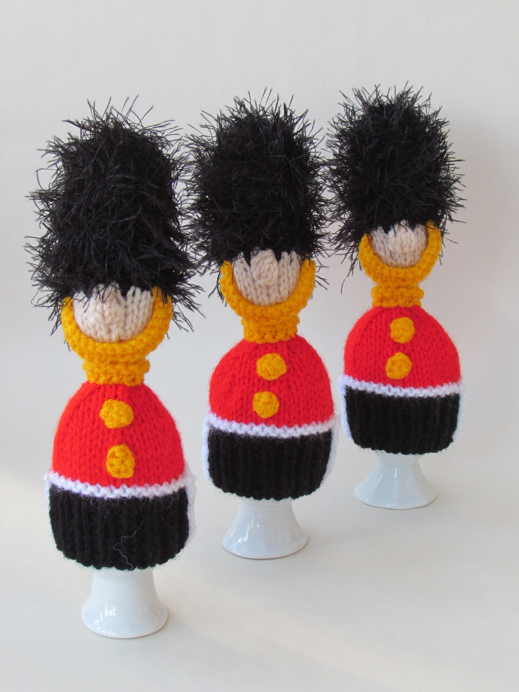Queen's Guards Egg Cosies knitting pattern