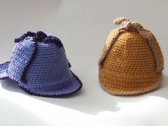 Baby Sherlock Holmes Style Deerstalker Hat crochet pattern