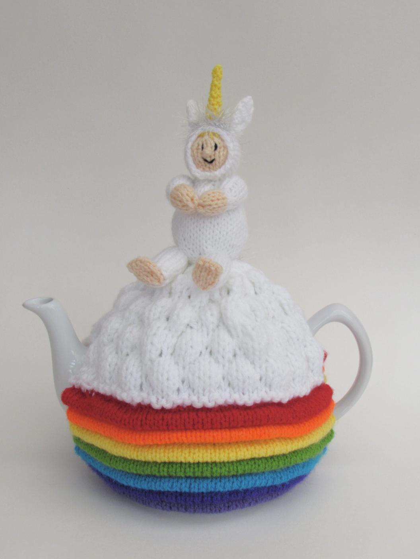 Unicorn Over the Rainbow tea cosy knitting pattern